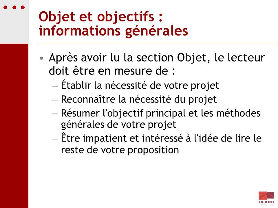 Objet et objectifs : informations générales