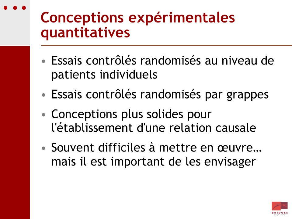 Conceptions expérimentales quantitatives