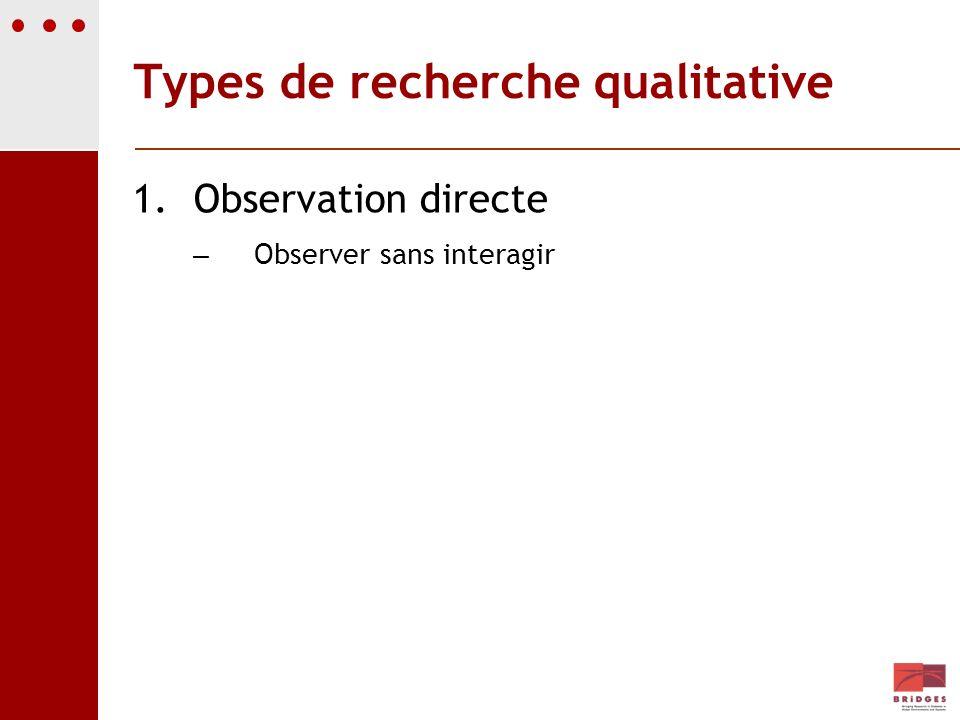 Types de recherche qualitative