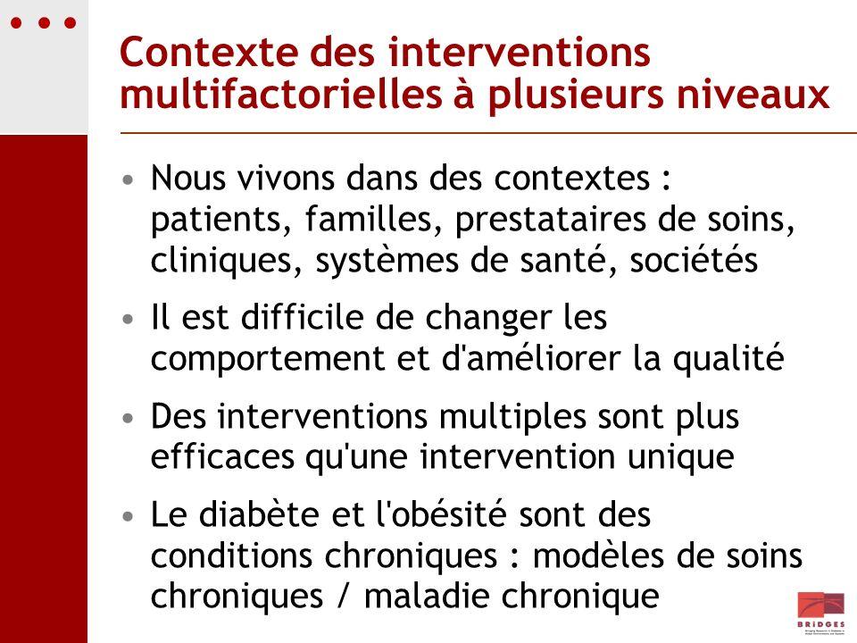 Contexte des interventions multifactorielles à plusieurs niveaux