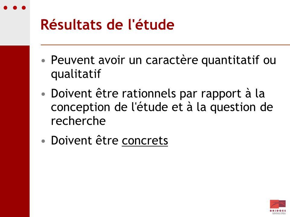 Résultats de l étude Peuvent avoir un caractère quantitatif ou qualitatif.