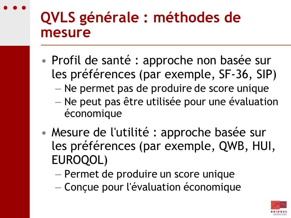 QVLS générale : méthodes de mesure