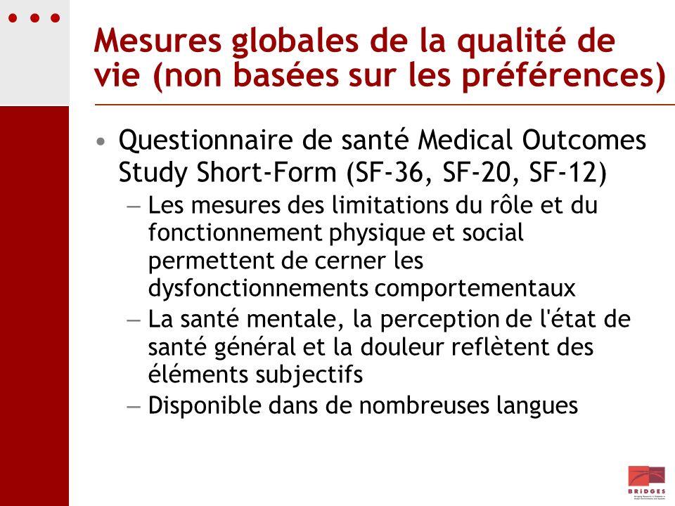 Mesures globales de la qualité de vie (non basées sur les préférences)
