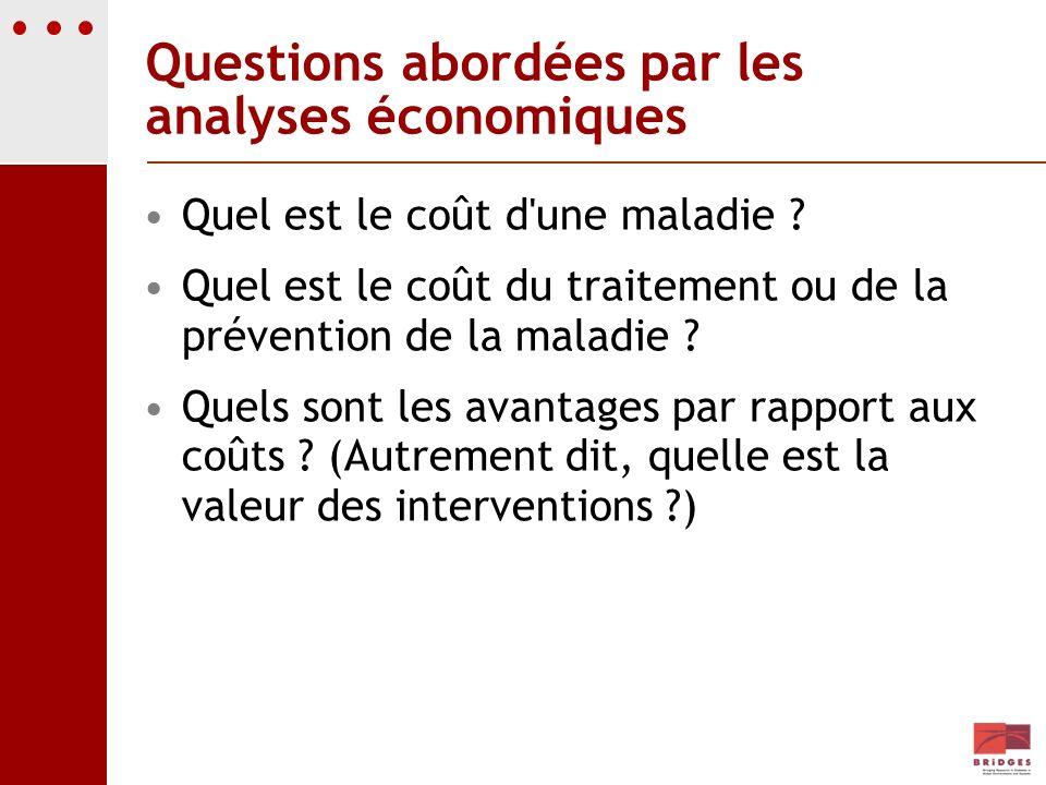 Questions abordées par les analyses économiques