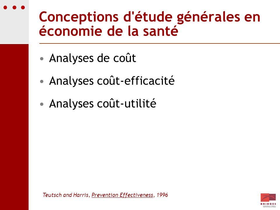 Conceptions d étude générales en économie de la santé