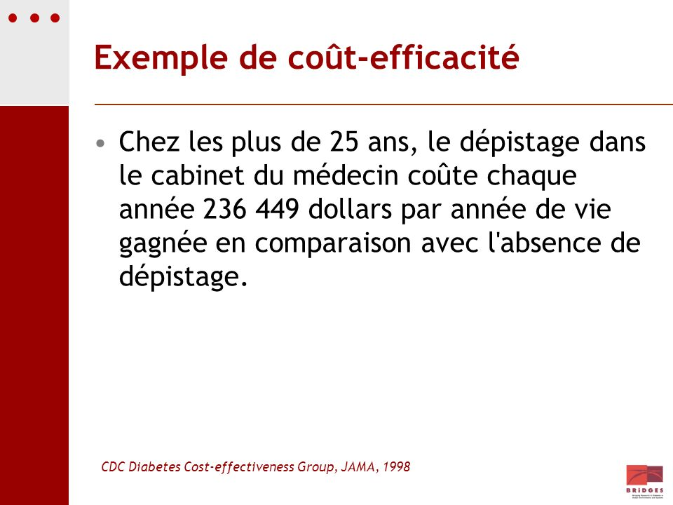 Exemple de coût-efficacité