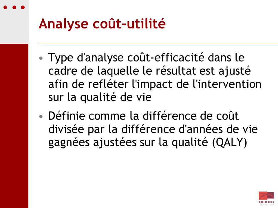29/11/2009Analyse coût-utilité.