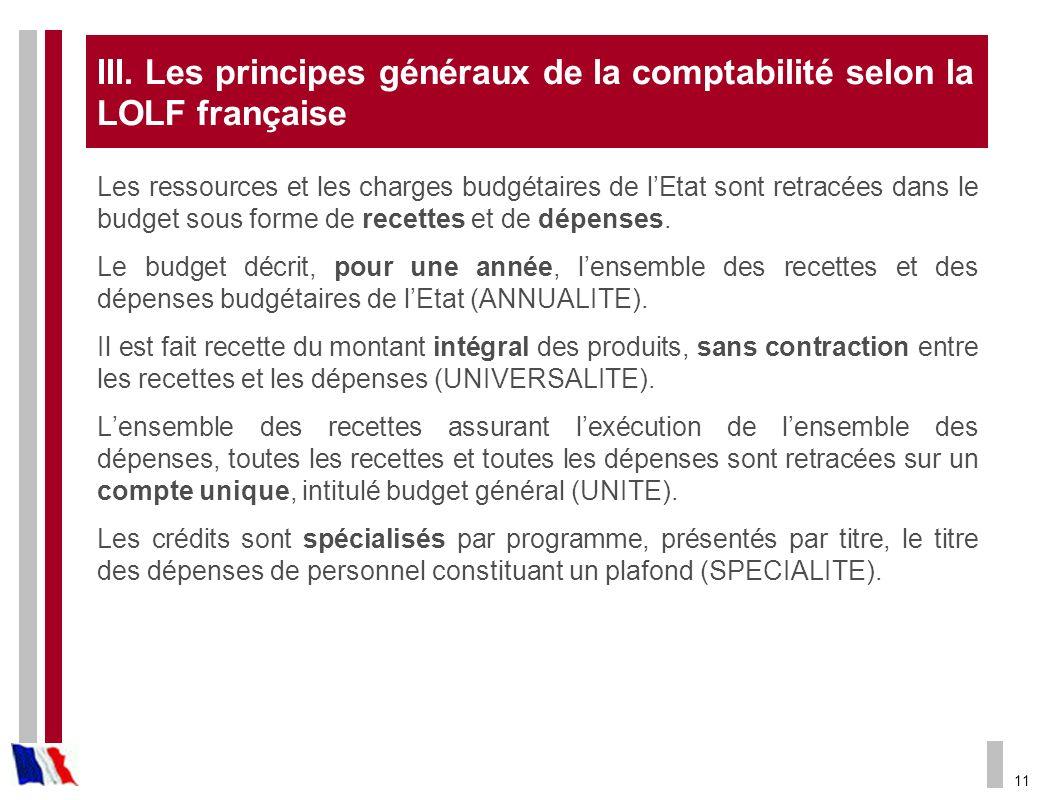 III. Les principes généraux de la comptabilité selon la LOLF française