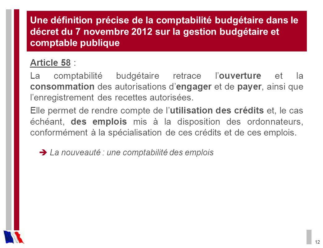 Une définition précise de la comptabilité budgétaire dans le décret du 7 novembre 2012 sur la gestion budgétaire et comptable publique