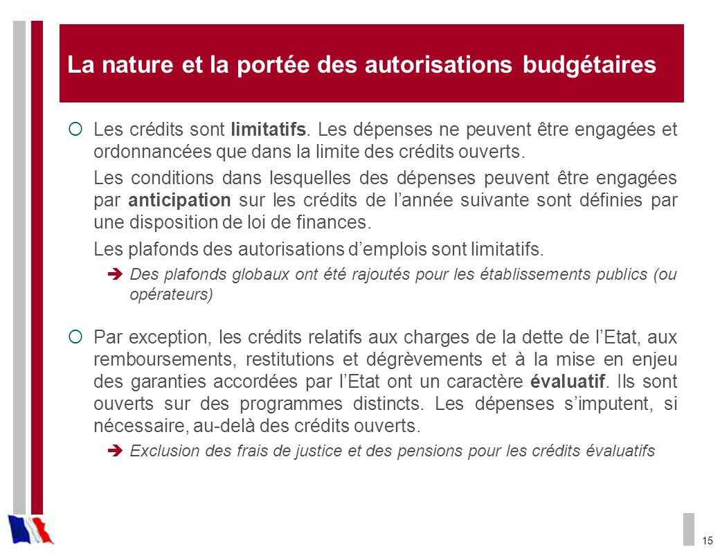 La nature et la portée des autorisations budgétaires
