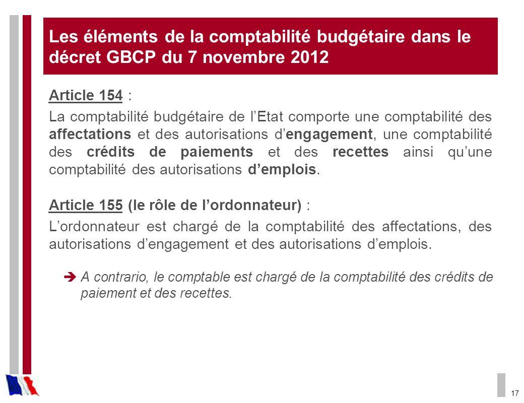 Les éléments de la comptabilité budgétaire dans le décret GBCP du 7 novembre 2012