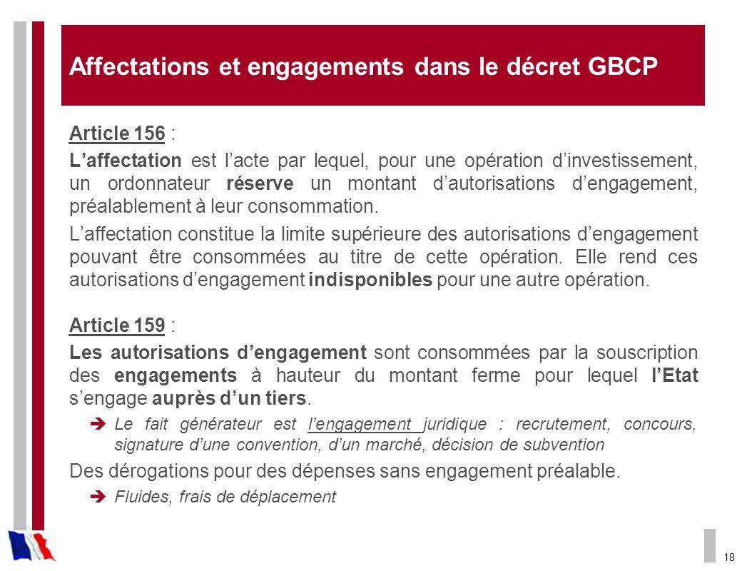 Affectations et engagements dans le décret GBCP