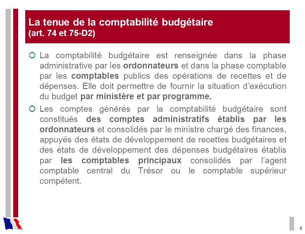 La tenue de la comptabilité budgétaire (art. 74 et 75-D2)