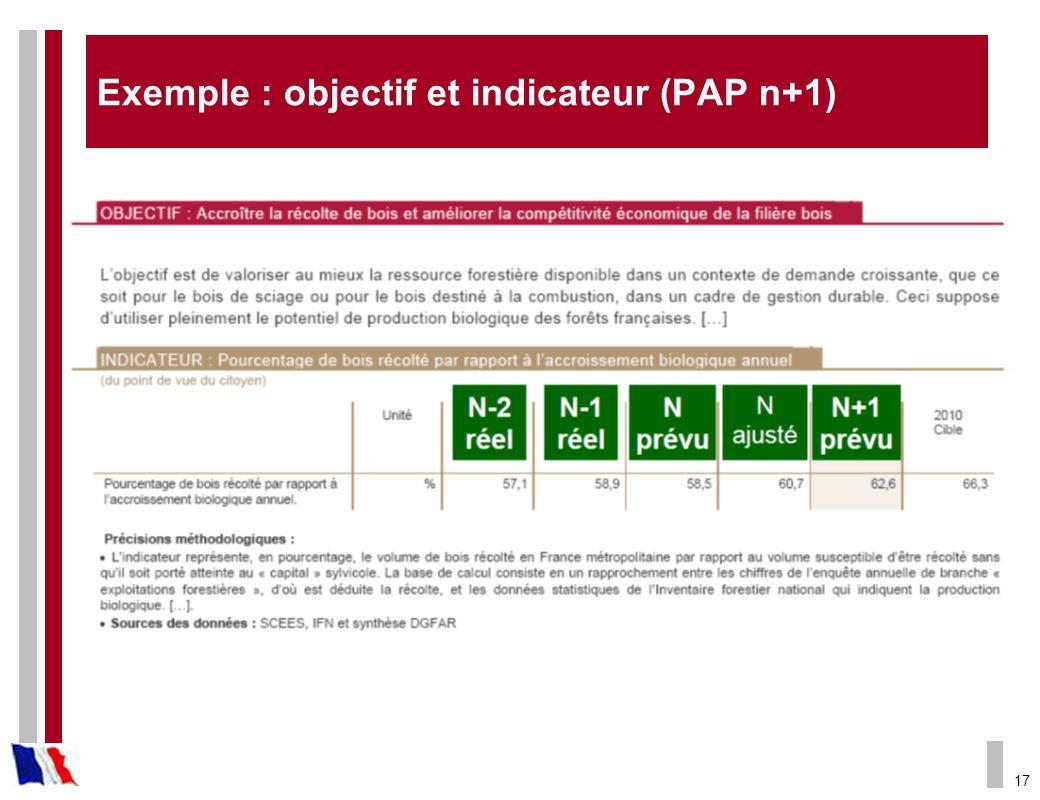 Exemple : objectif et indicateur (PAP n+1)