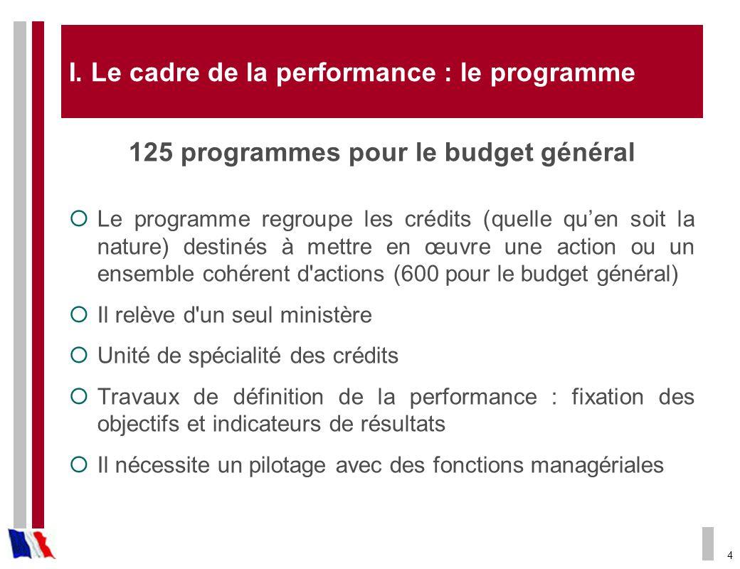 I. Le cadre de la performance : le programme