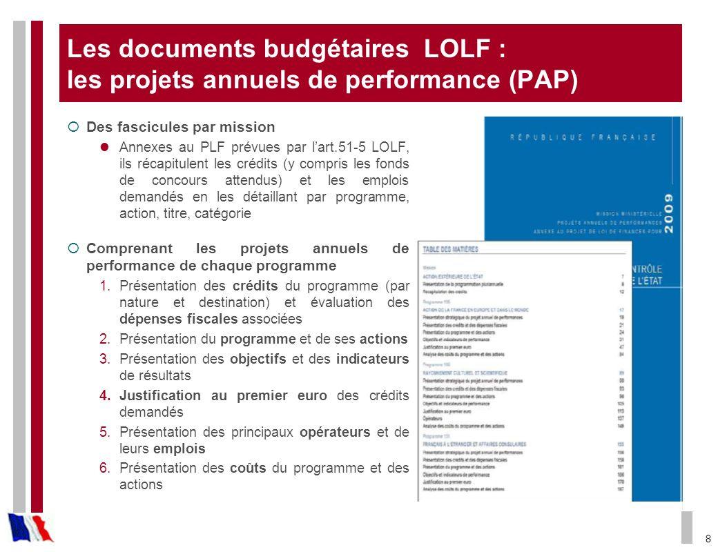 Les documents budgétaires LOLF : les projets annuels de performance (PAP)