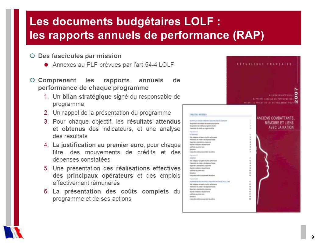 Les documents budgétaires LOLF : les rapports annuels de performance (RAP)