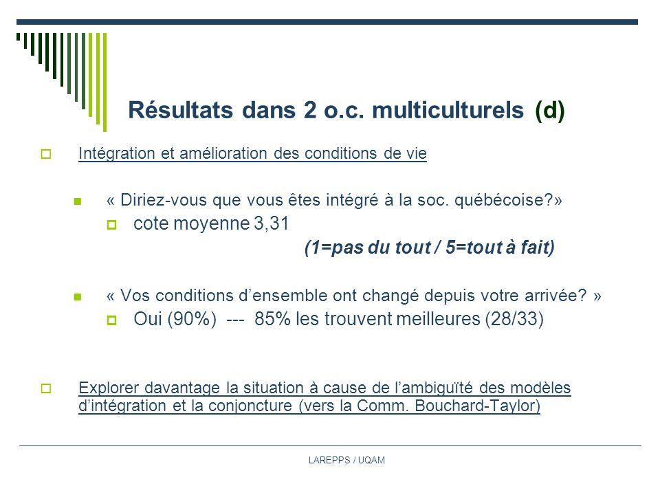 Résultats dans 2 o.c. multiculturels (d)