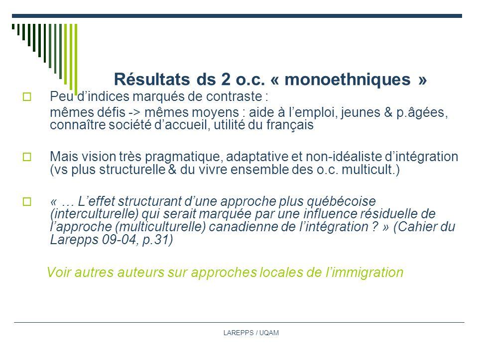 Résultats ds 2 o.c. « monoethniques »