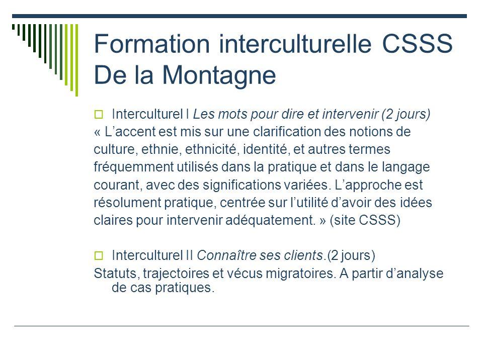 Formation interculturelle CSSS De la Montagne