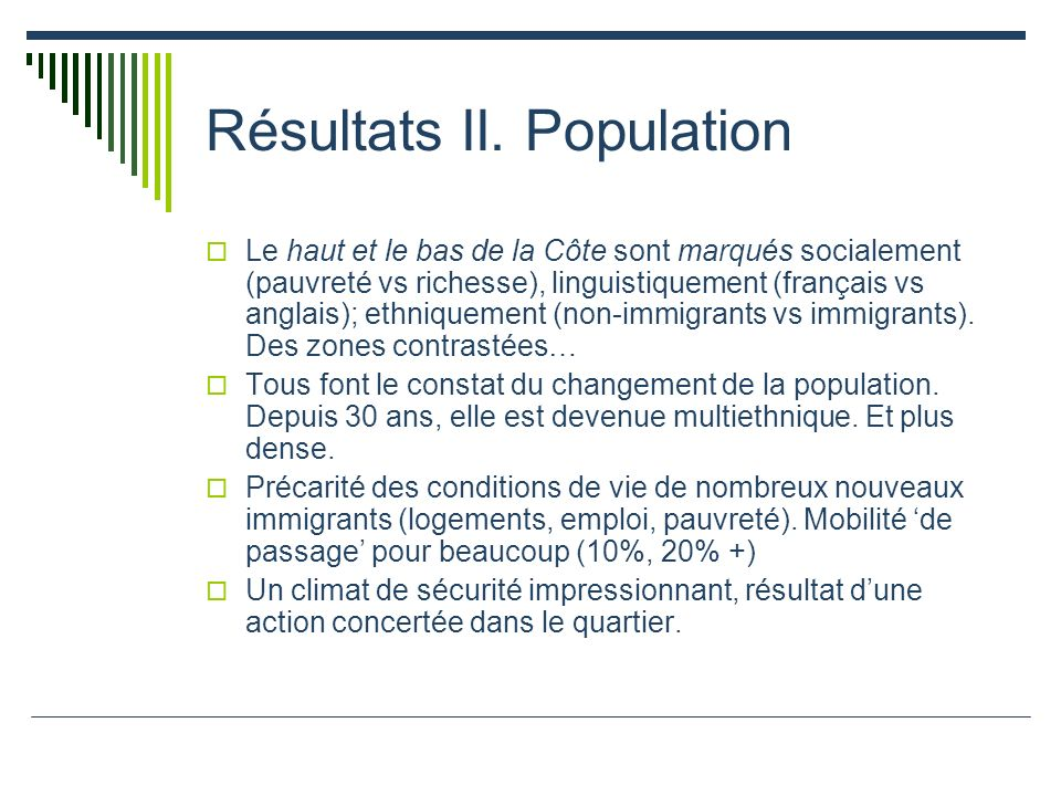 Résultats II. Population