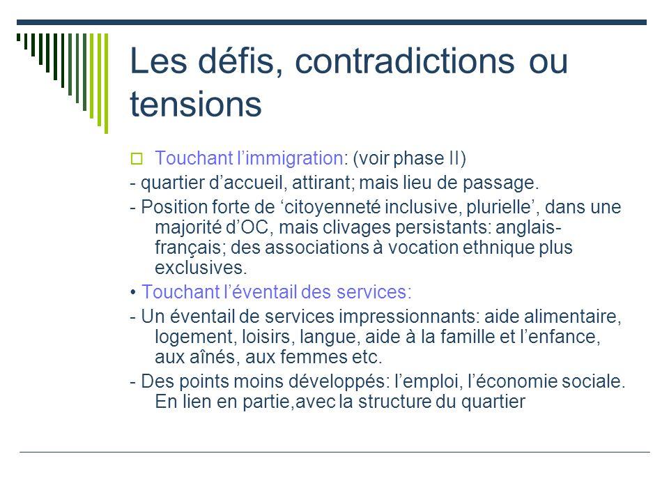 Les défis, contradictions ou tensions