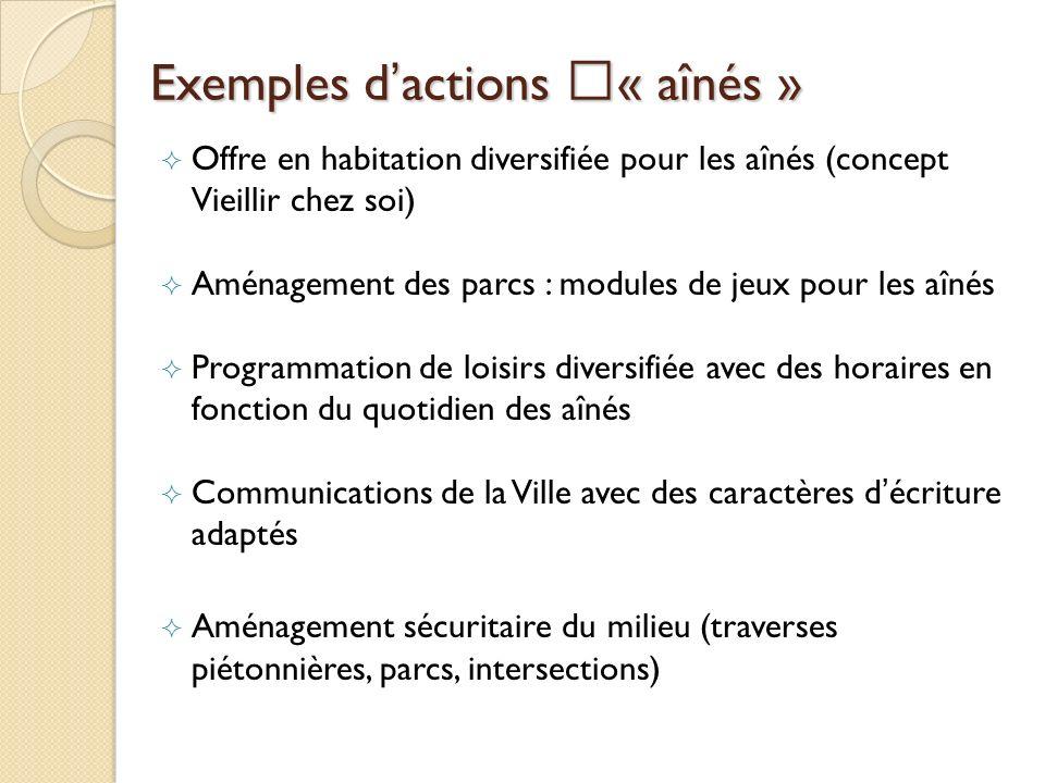 Exemples d'actions « aînés »