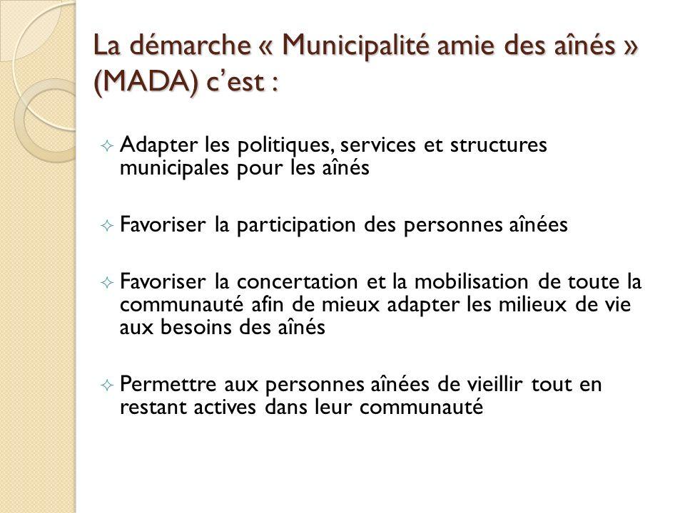 La démarche « Municipalité amie des aînés » (MADA) c'est :