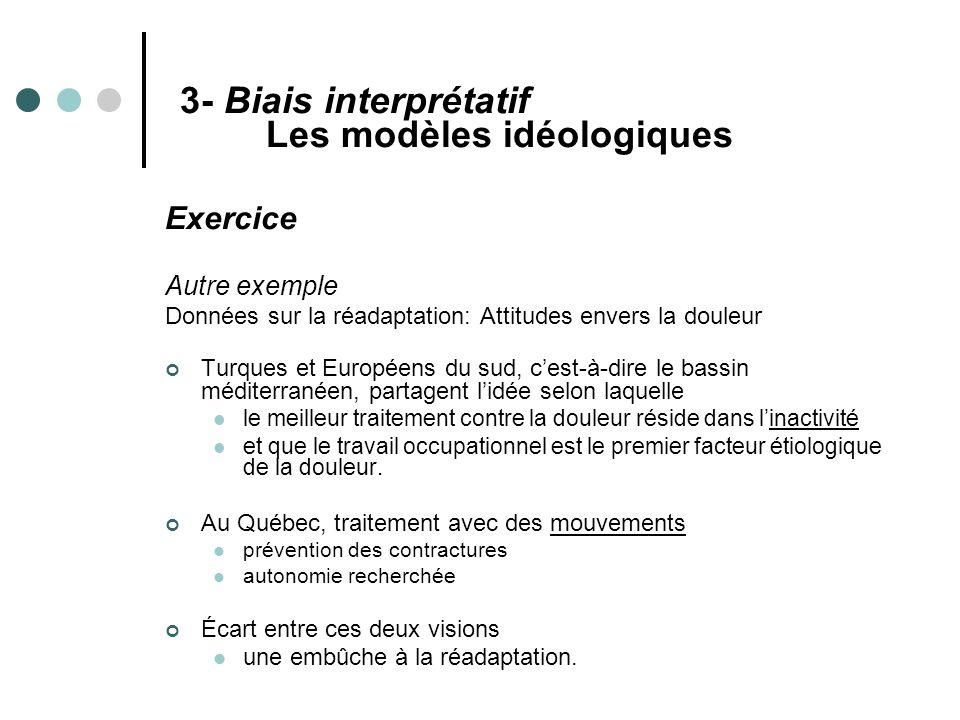 3- Biais interprétatif Les modèles idéologiques