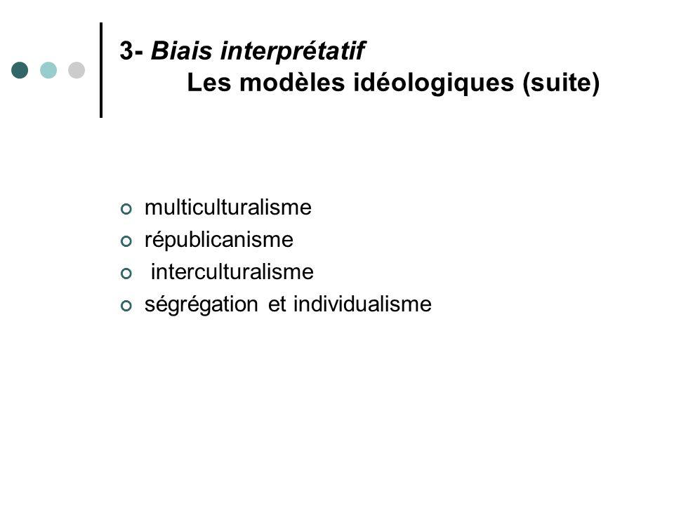 3- Biais interprétatif Les modèles idéologiques (suite)