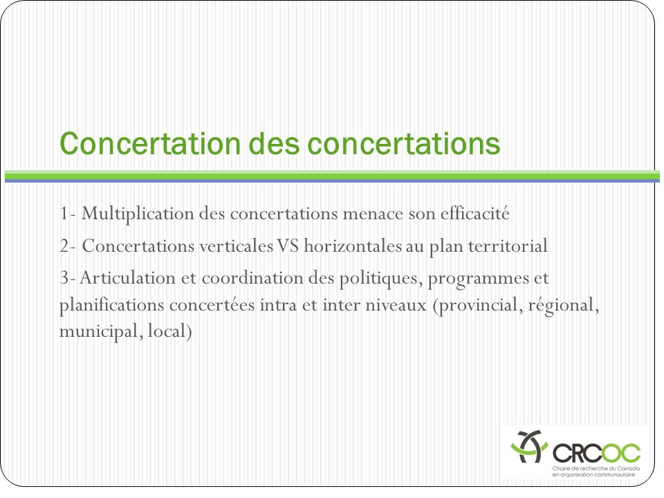 Concertation des concertations