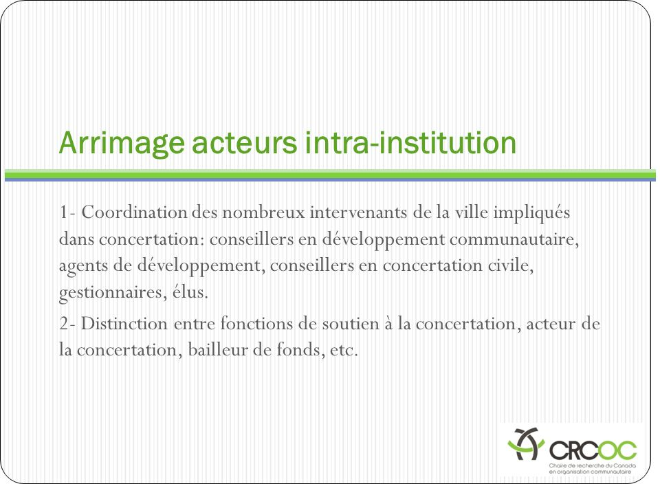 Arrimage acteurs intra-institution