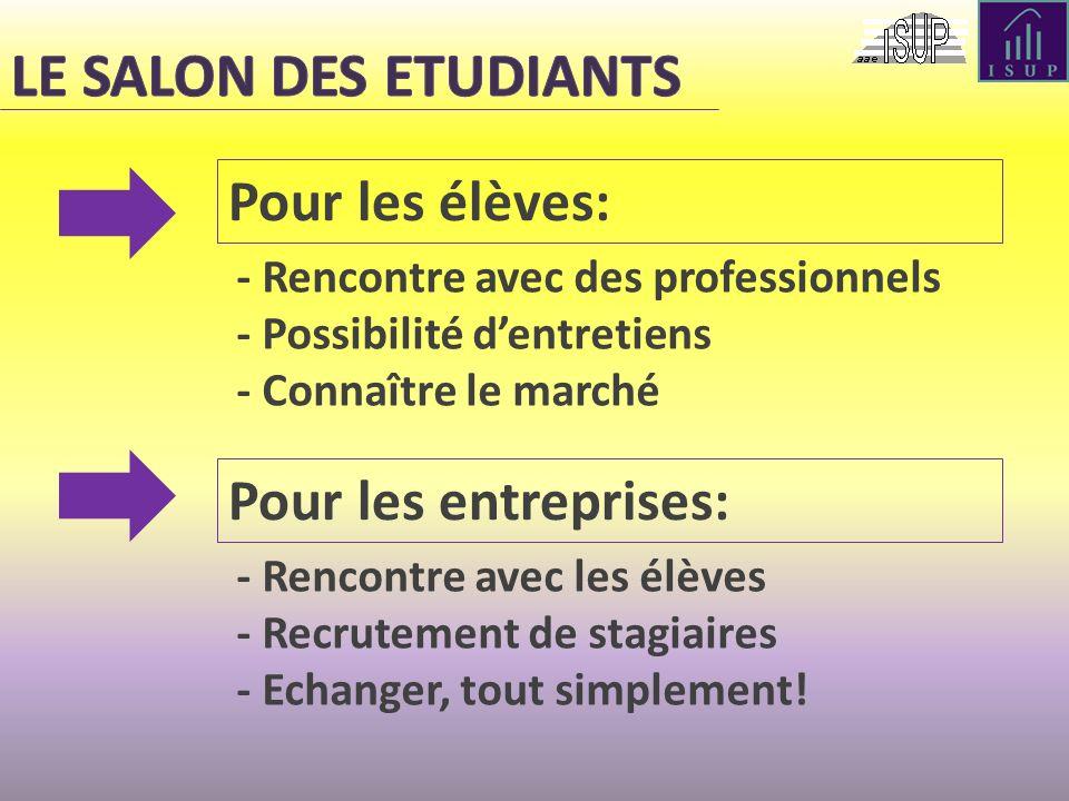LE SALON DES ETUDIANTS Pour les élèves: Pour les entreprises: