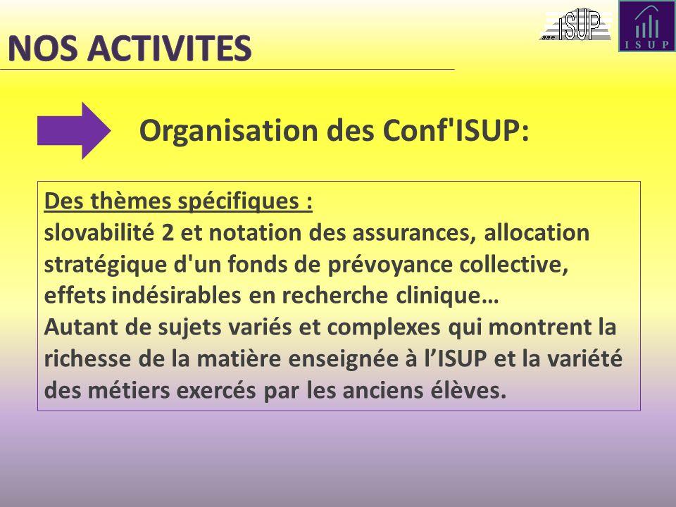 NOS ACTIVITES Organisation des Conf ISUP: Des thèmes spécifiques :