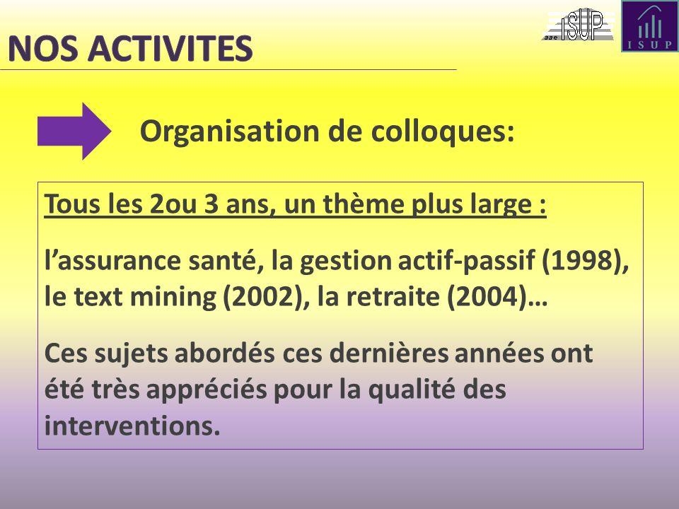 NOS ACTIVITES Organisation de colloques: