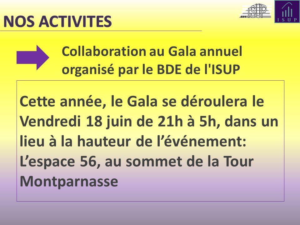 NOS ACTIVITES Collaboration au Gala annuel organisé par le BDE de l ISUP.
