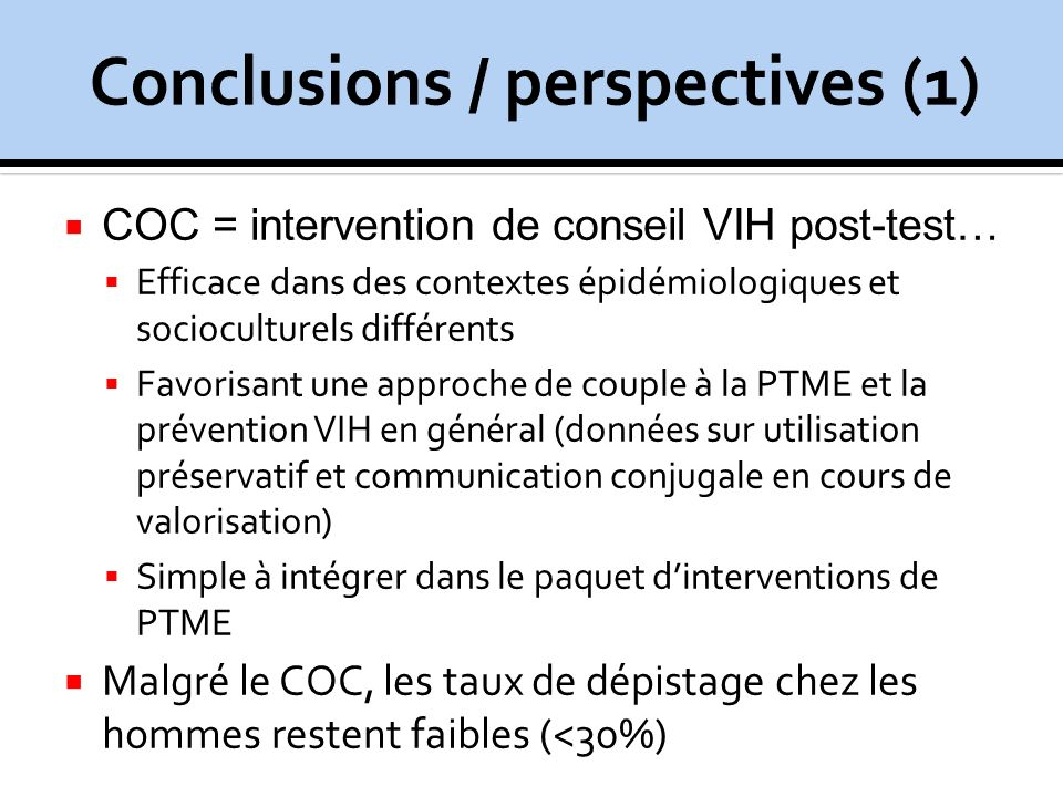 Conclusions / perspectives (1)