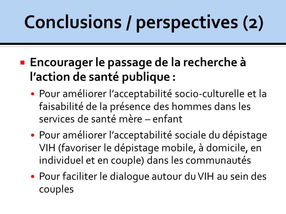 Conclusions / perspectives (2)