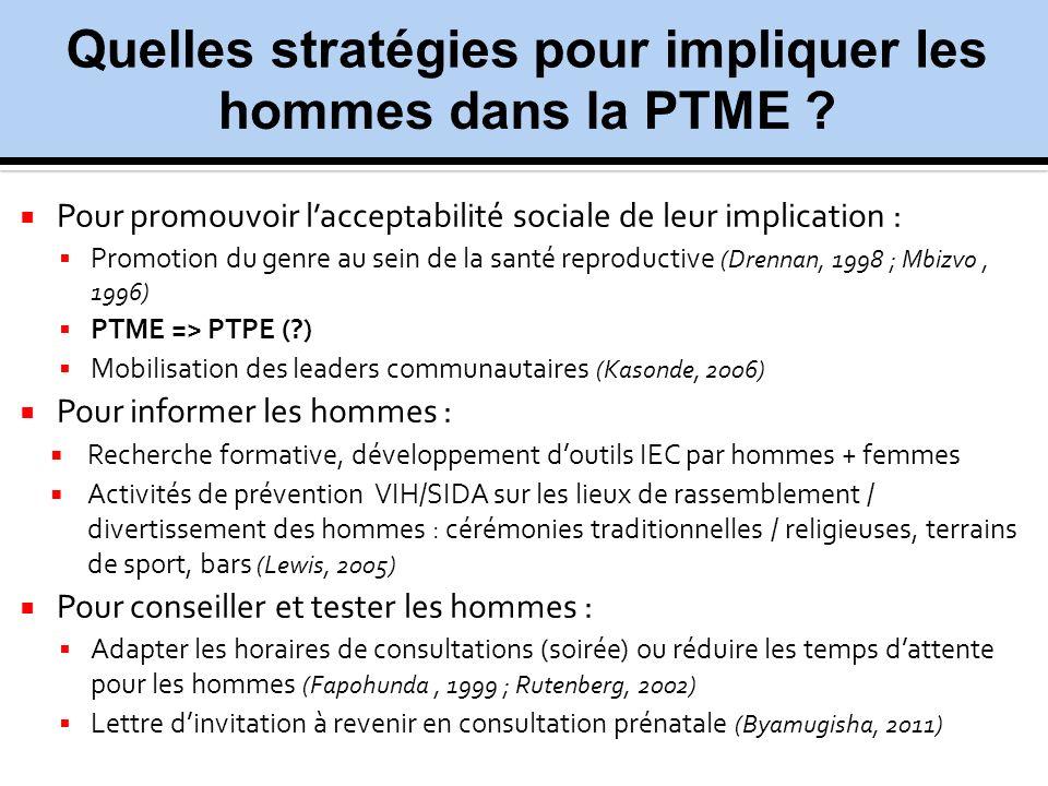 Quelles stratégies pour impliquer les hommes dans la PTME