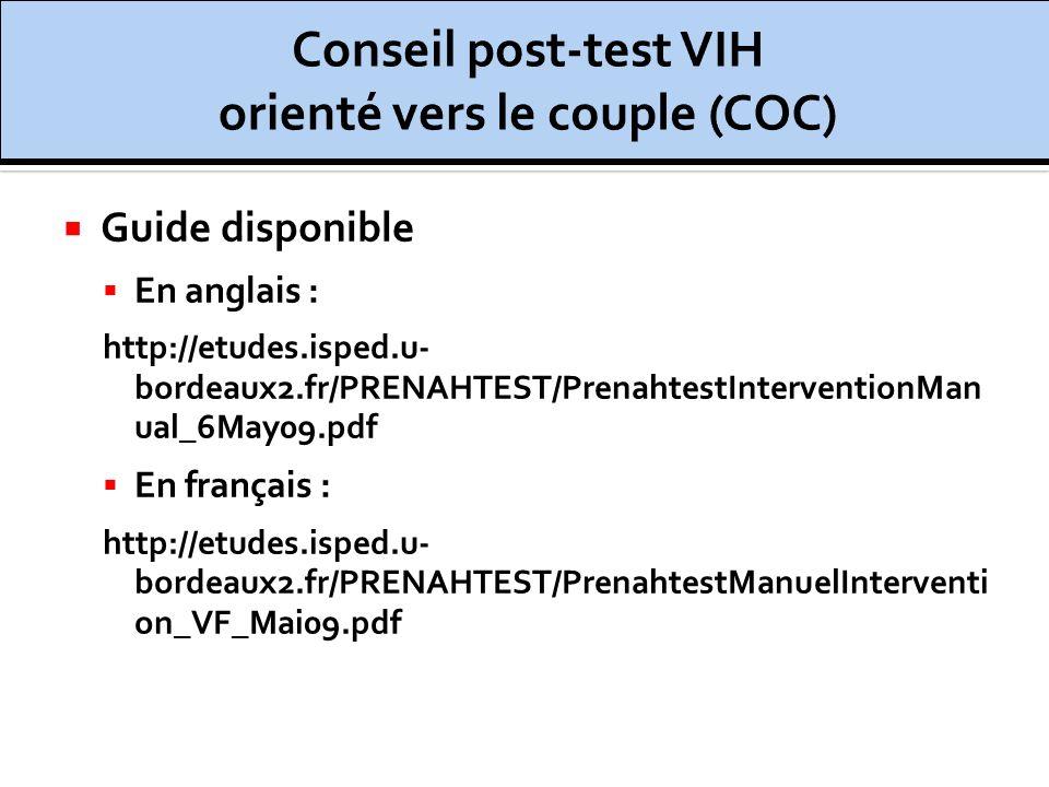 Conseil post-test VIH orienté vers le couple (COC)