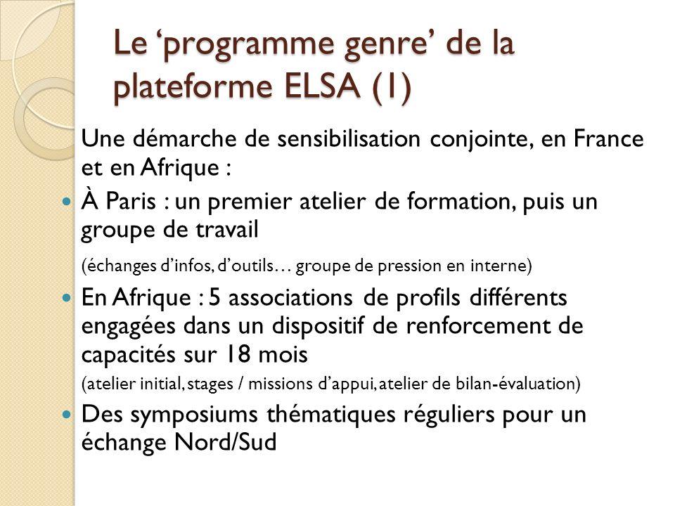 Le 'programme genre' de la plateforme ELSA (1)