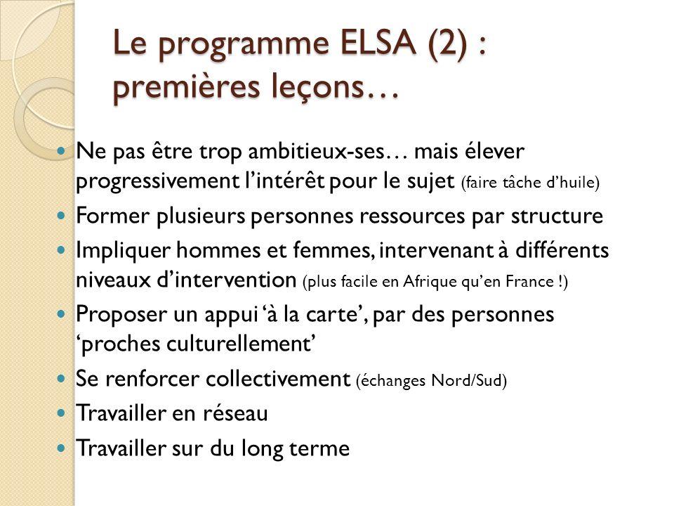 Le programme ELSA (2) : premières leçons…