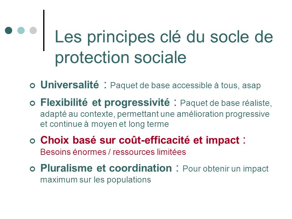 Les principes clé du socle de protection sociale