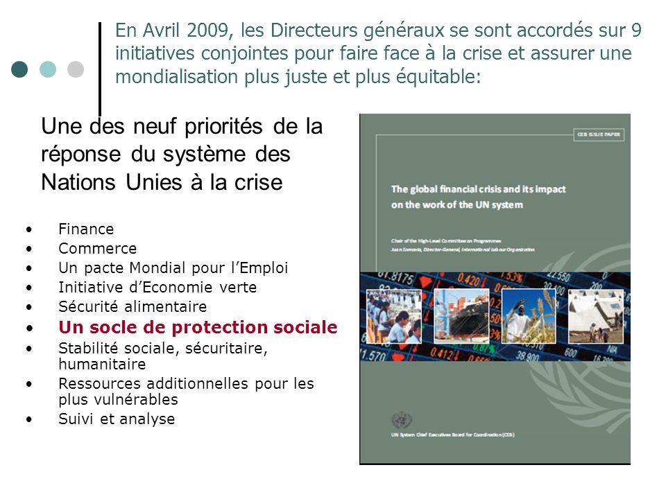 En Avril 2009, les Directeurs généraux se sont accordés sur 9 initiatives conjointes pour faire face à la crise et assurer une mondialisation plus juste et plus équitable: