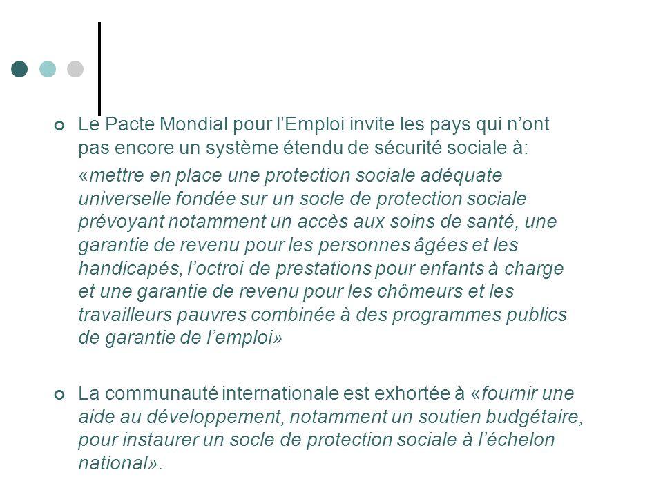 Le Pacte Mondial pour l'Emploi invite les pays qui n'ont pas encore un système étendu de sécurité sociale à: