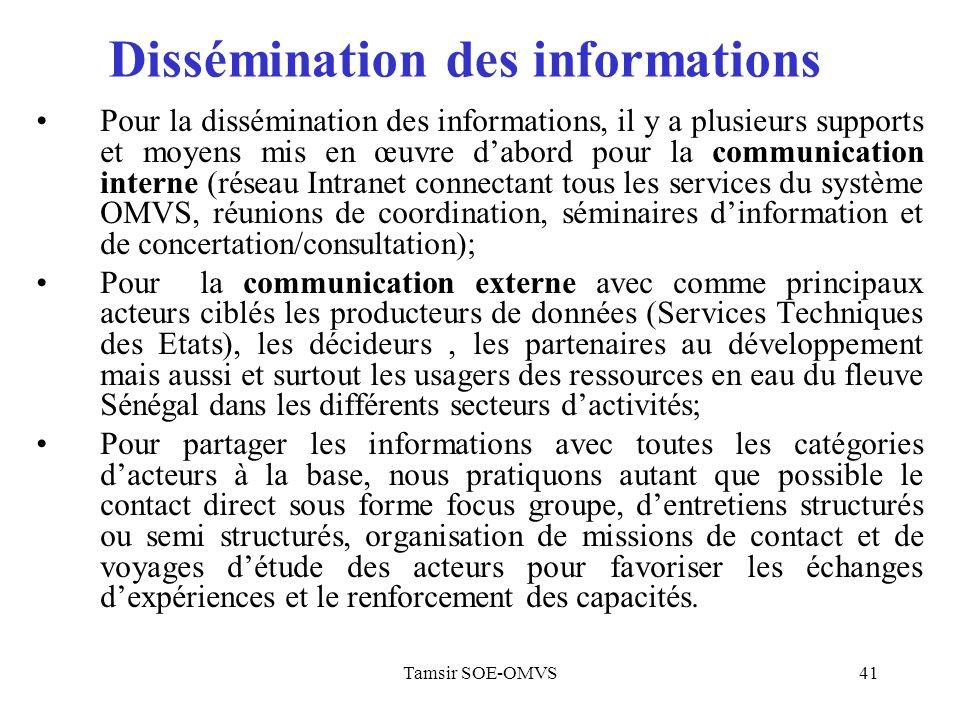 Dissémination des informations