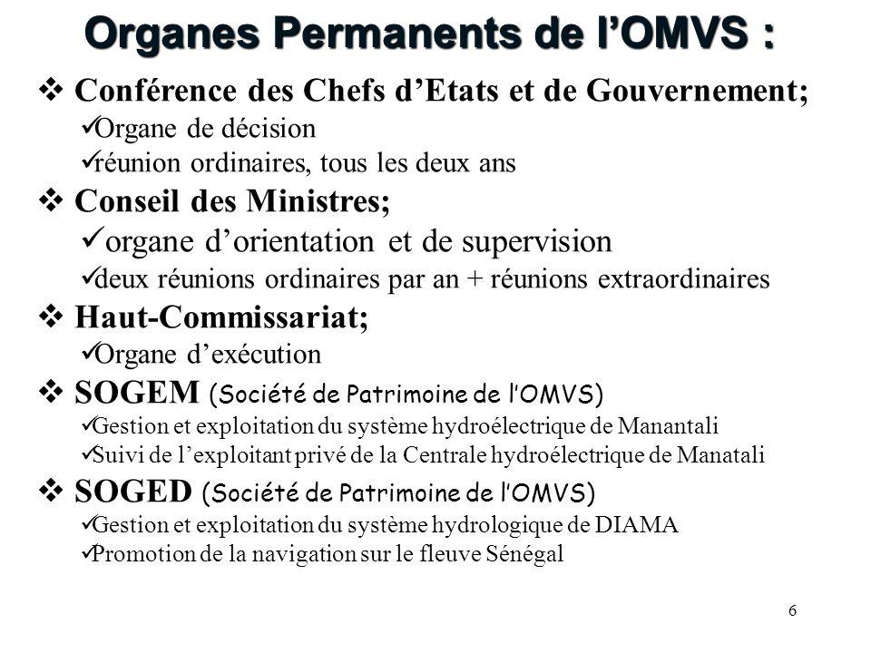 Organes Permanents de l'OMVS :