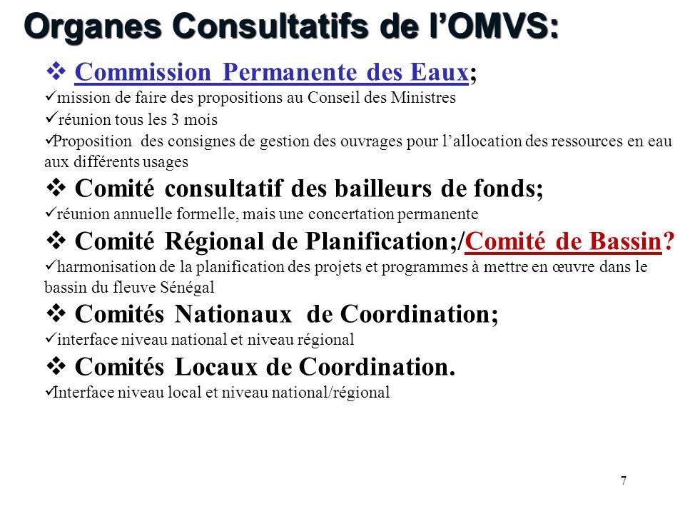 Organes Consultatifs de l'OMVS: