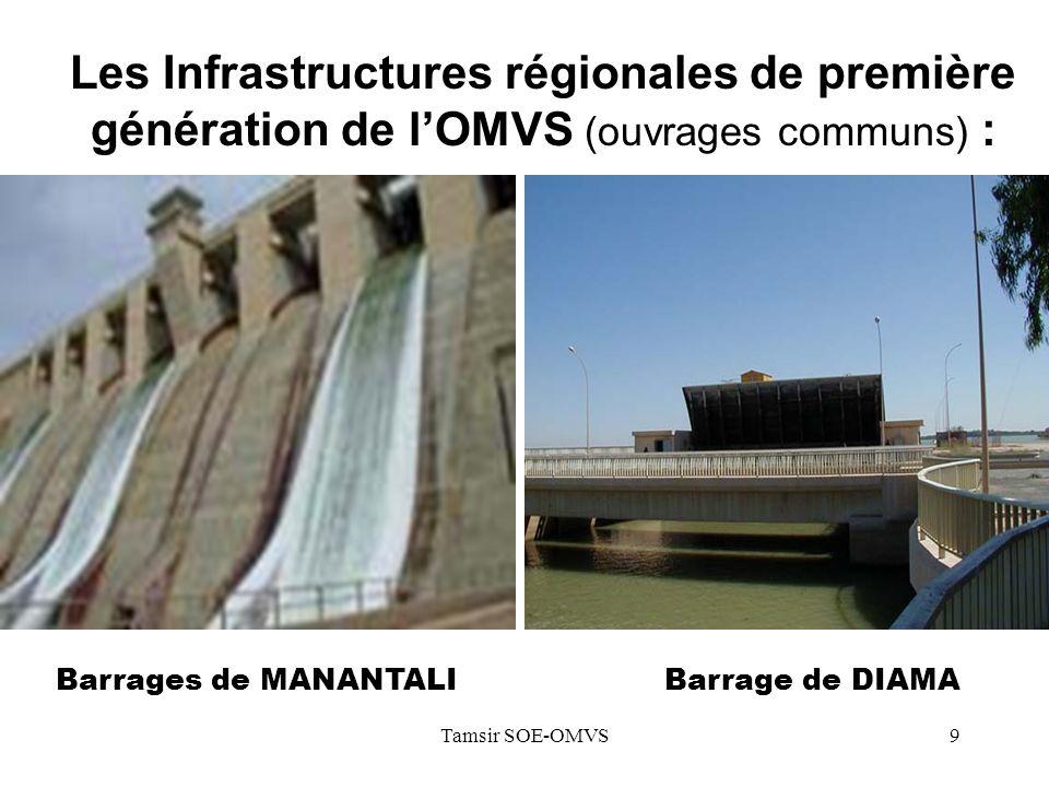 Les Infrastructures régionales de première génération de l'OMVS (ouvrages communs) :