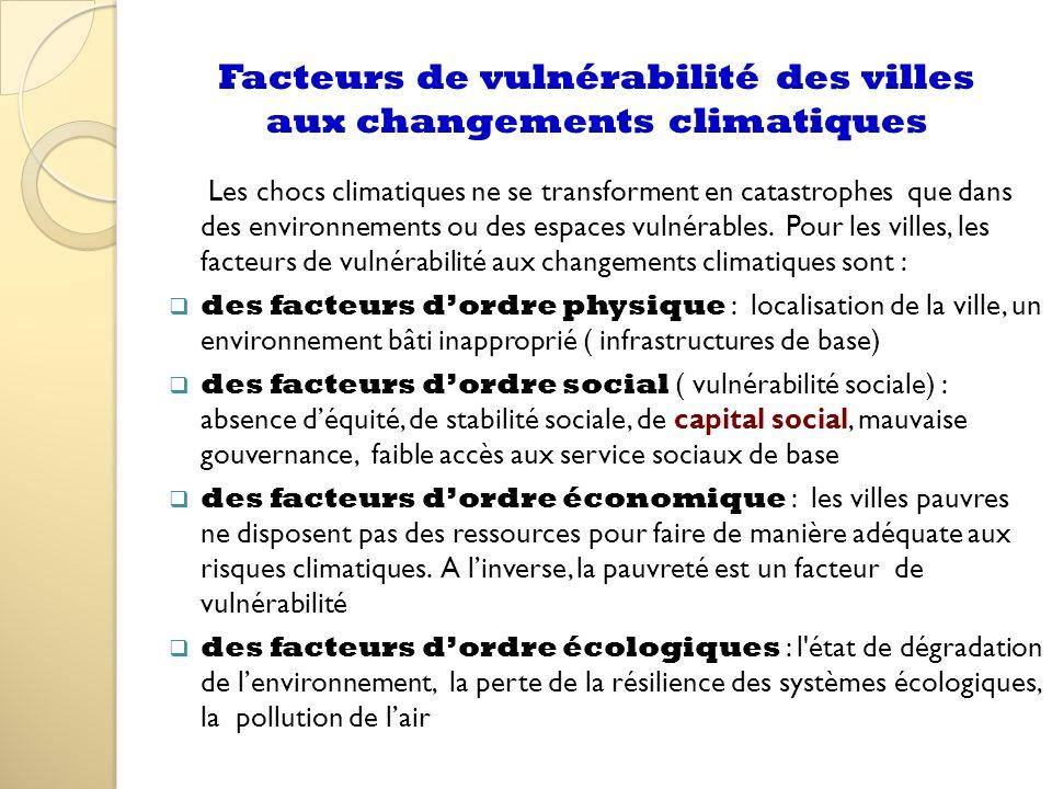 Facteurs de vulnérabilité des villes aux changements climatiques